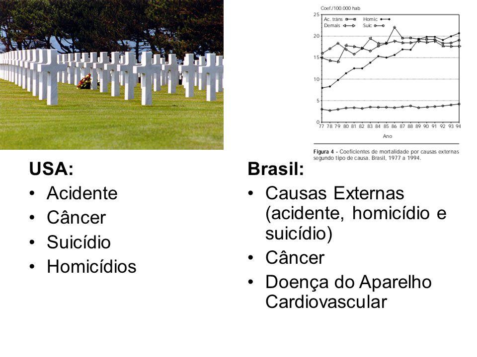 USA: Acidente. Câncer. Suicídio. Homicídios. Brasil: Causas Externas (acidente, homicídio e suicídio)