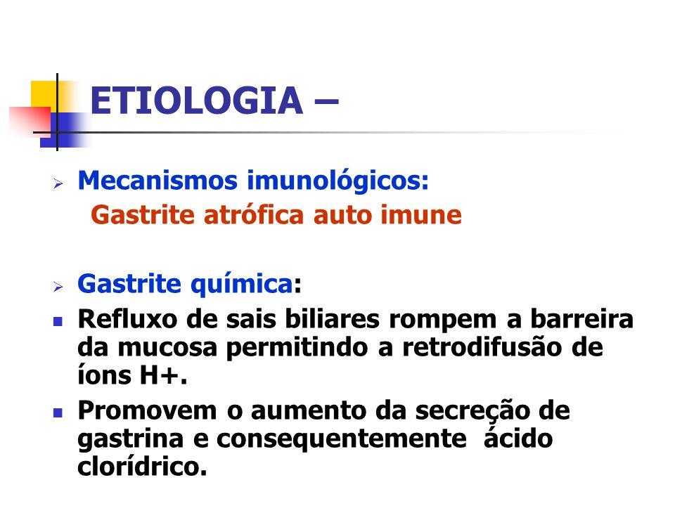 ETIOLOGIA – Mecanismos imunológicos: Gastrite atrófica auto imune