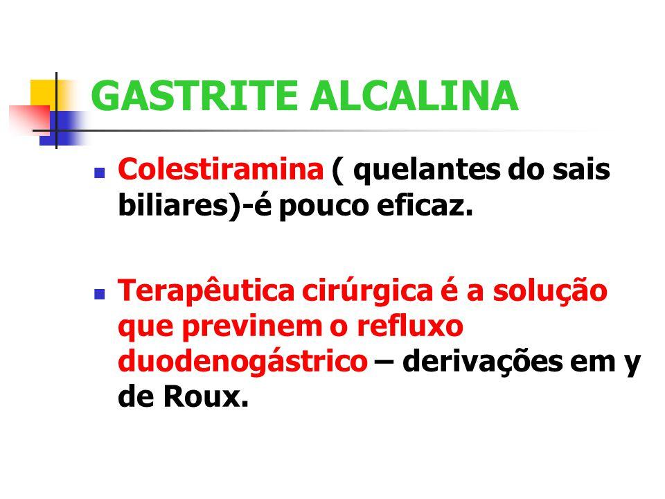 GASTRITE ALCALINA Colestiramina ( quelantes do sais biliares)-é pouco eficaz.