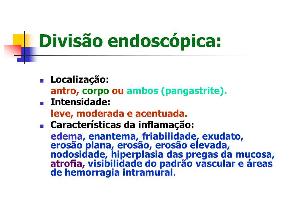 Divisão endoscópica: Localização: antro, corpo ou ambos (pangastrite).