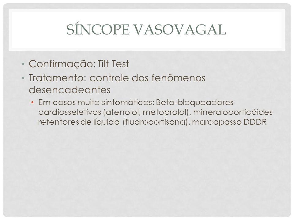 Síncope vasovagal Confirmação: Tilt Test