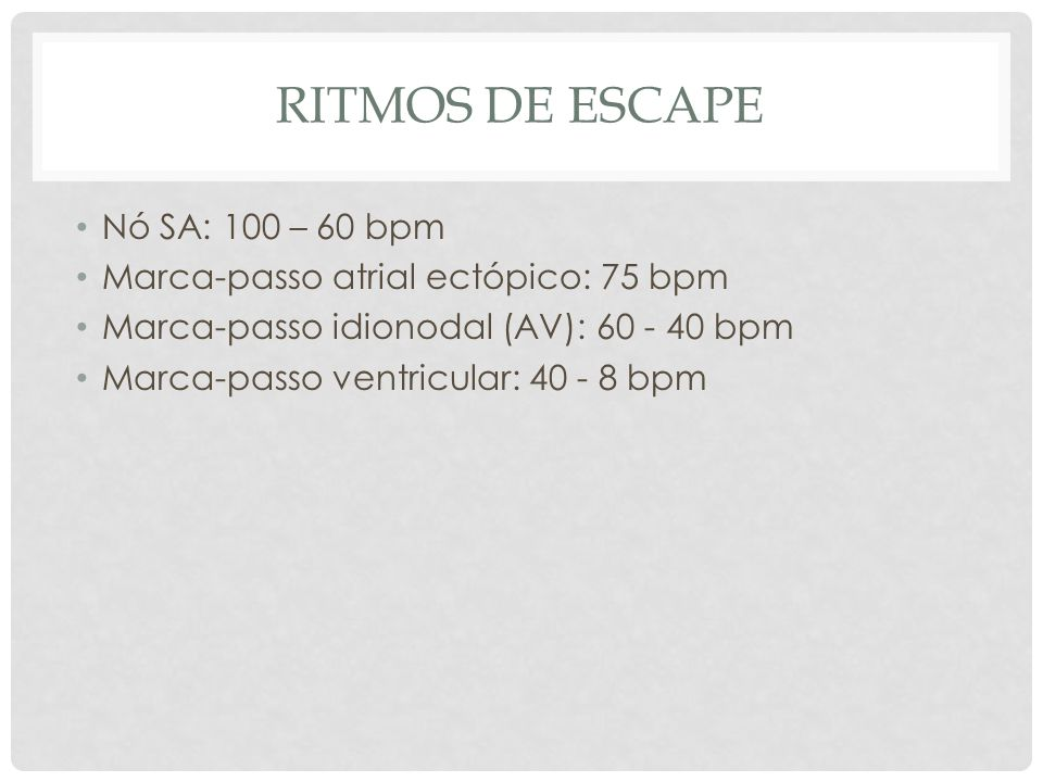 Ritmos de escape Nó SA: 100 – 60 bpm