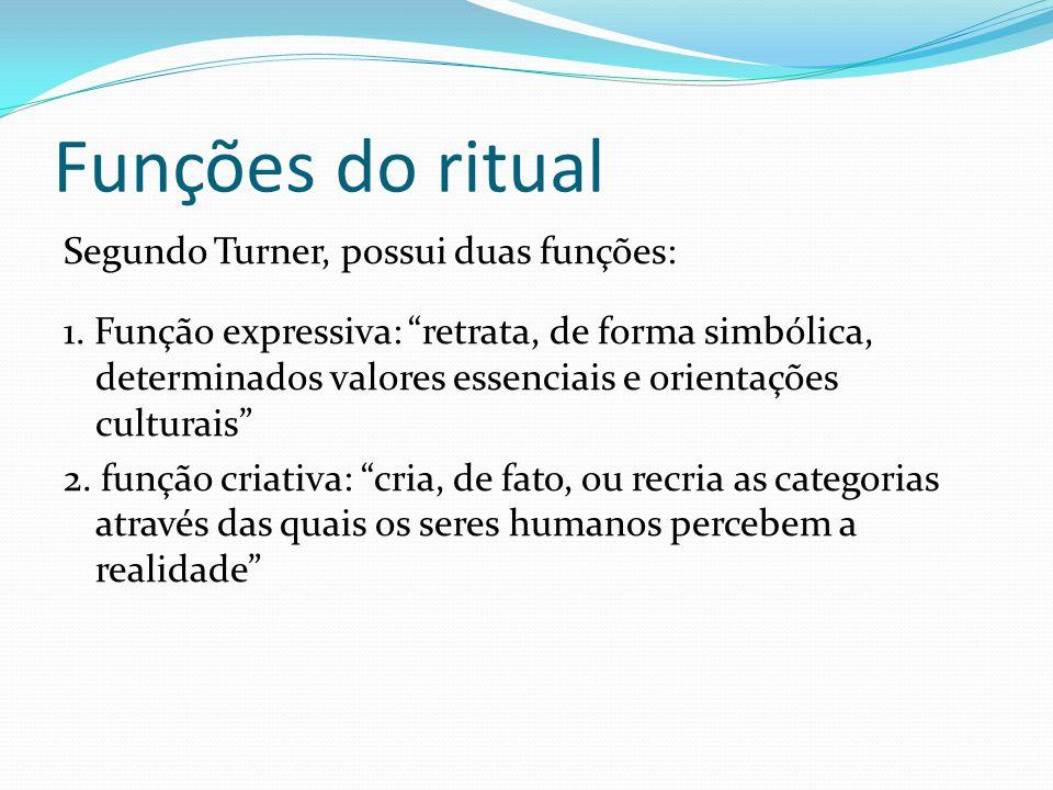 Funções do ritual Segundo Turner, possui duas funções: