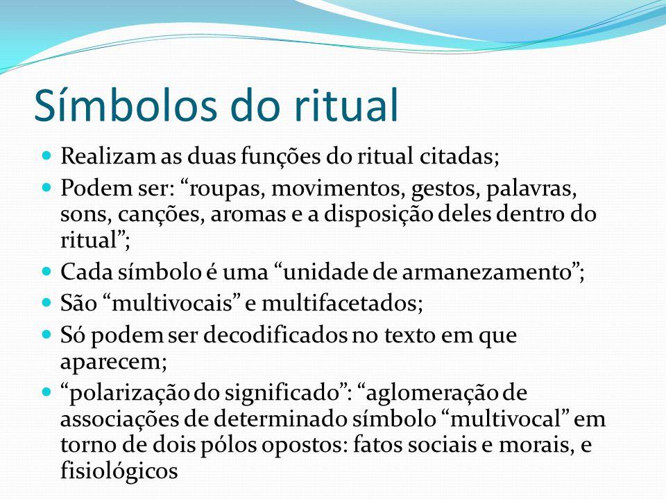Símbolos do ritual Realizam as duas funções do ritual citadas;