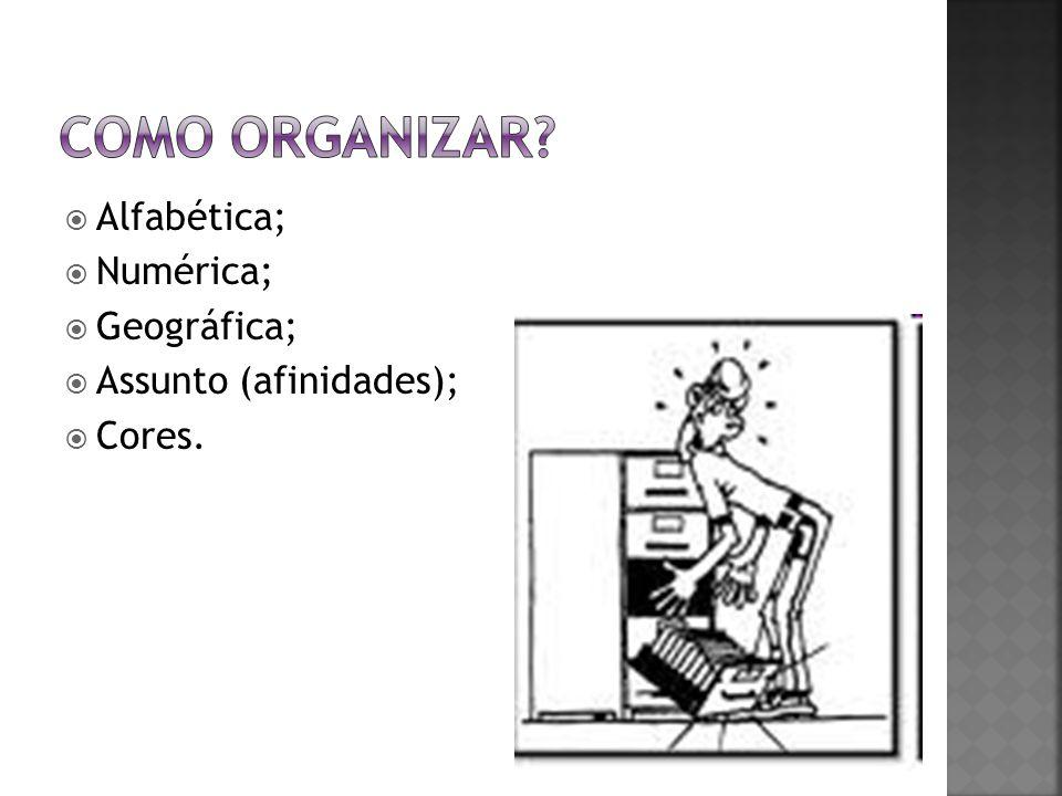 Como organizar Alfabética; Numérica; Geográfica;