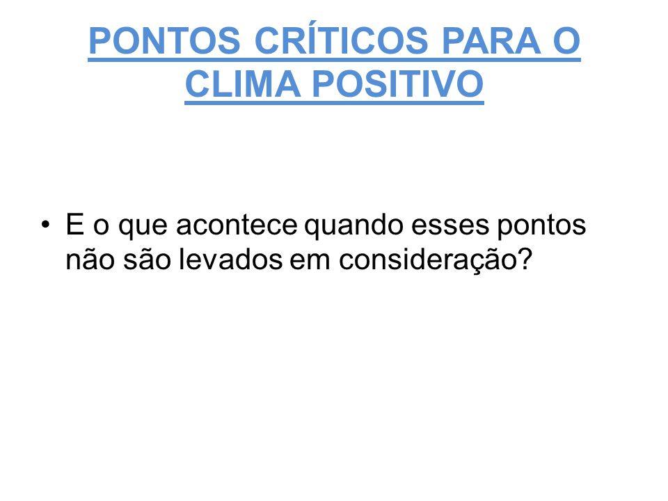 PONTOS CRÍTICOS PARA O CLIMA POSITIVO
