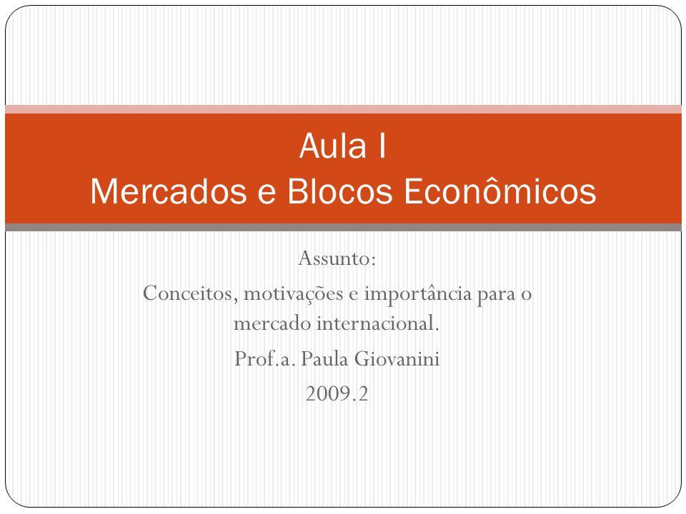 Aula I Mercados e Blocos Econômicos