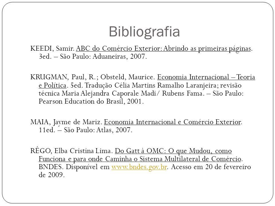 Bibliografia KEEDI, Samir. ABC do Comércio Exterior: Abrindo as primeiras páginas. 3ed. – São Paulo: Aduaneiras, 2007.