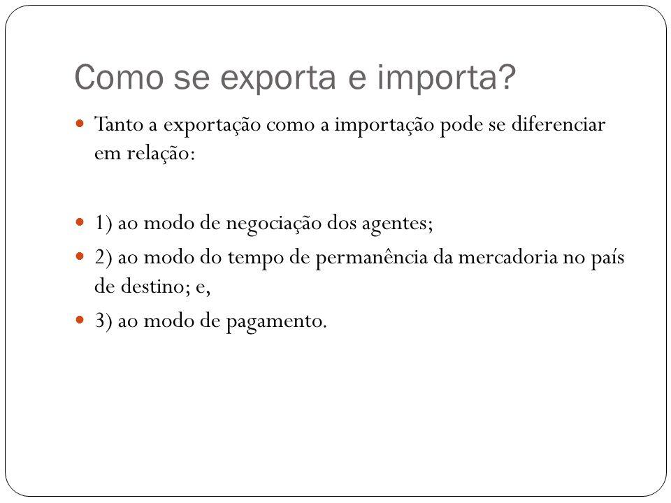 Como se exporta e importa