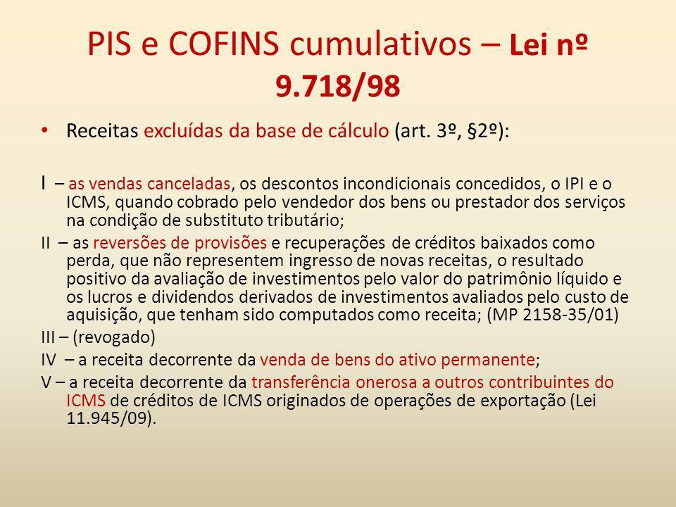 PIS e COFINS cumulativos – Lei nº 9.718/98