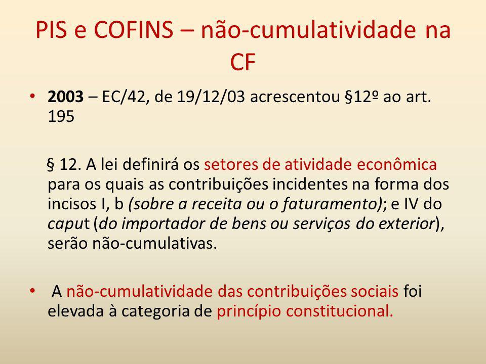 PIS e COFINS – não-cumulatividade na CF