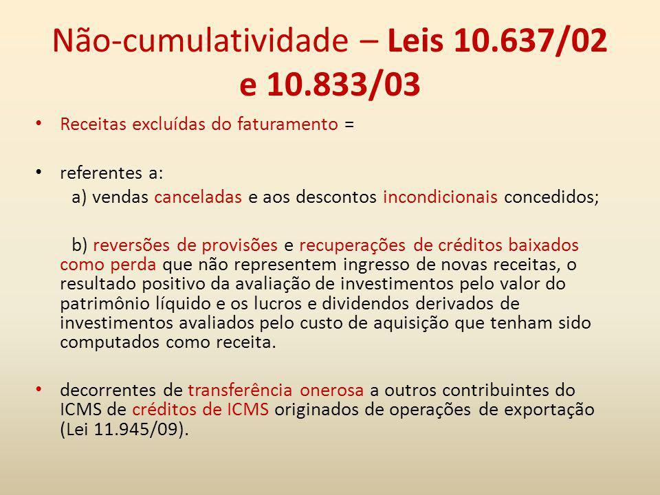 Não-cumulatividade – Leis 10.637/02 e 10.833/03
