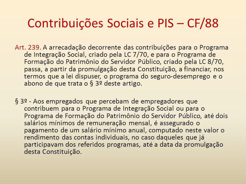 Contribuições Sociais e PIS – CF/88
