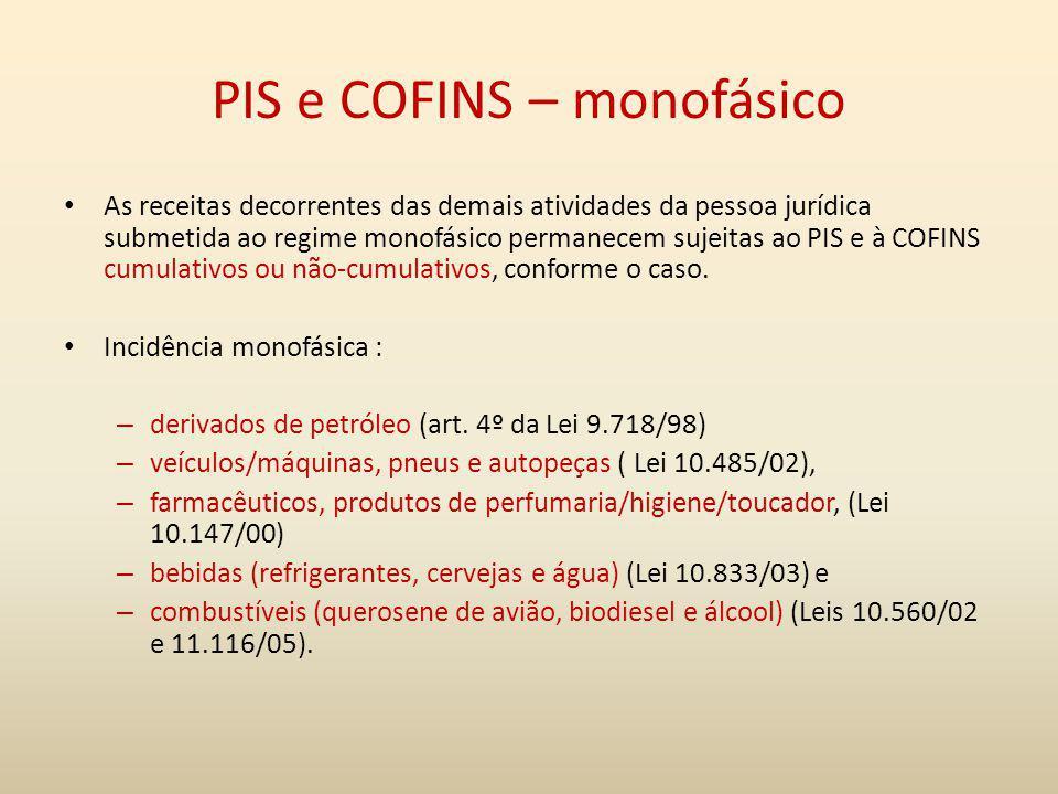 PIS e COFINS – monofásico