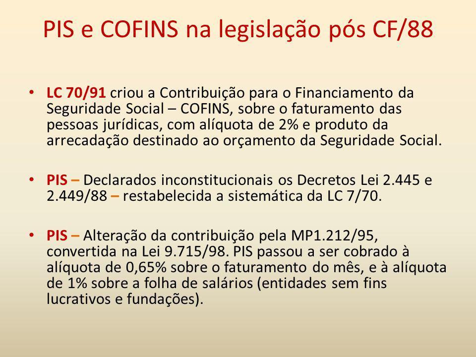PIS e COFINS na legislação pós CF/88