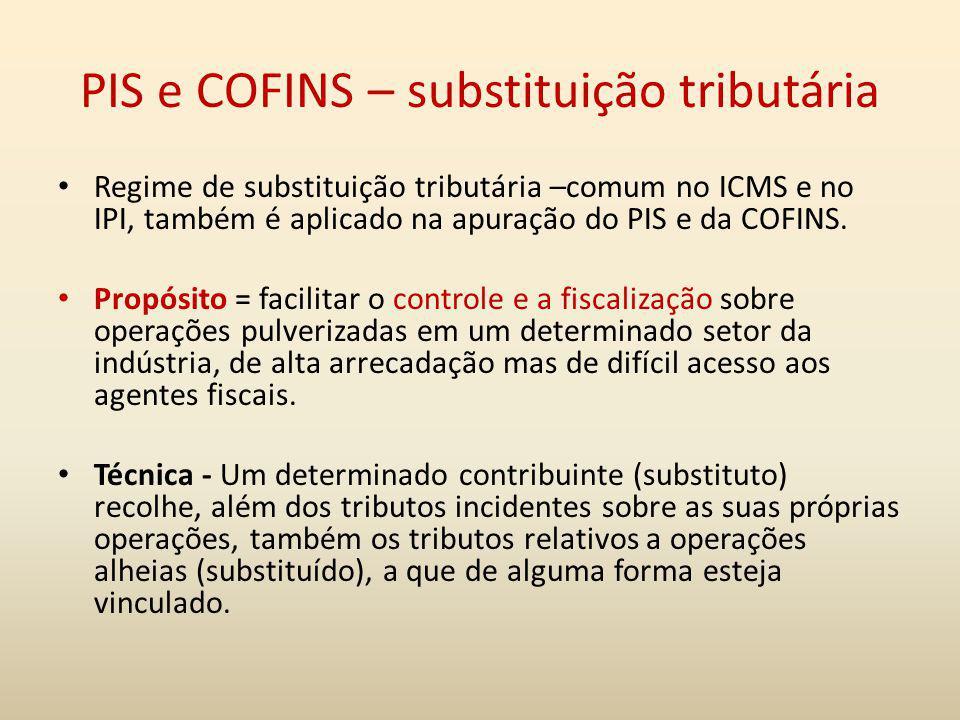 PIS e COFINS – substituição tributária