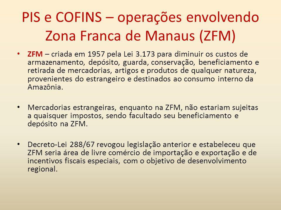 PIS e COFINS – operações envolvendo Zona Franca de Manaus (ZFM)