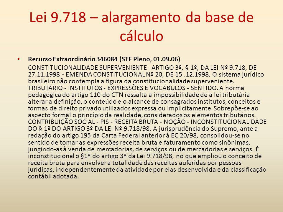 Lei 9.718 – alargamento da base de cálculo