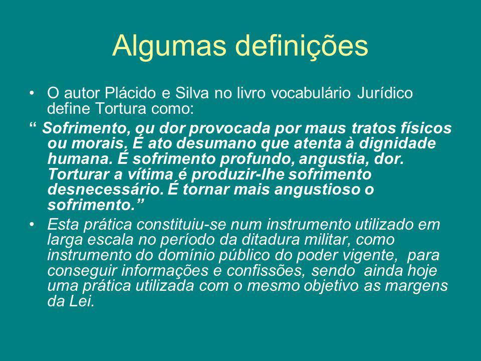Algumas definições O autor Plácido e Silva no livro vocabulário Jurídico define Tortura como: