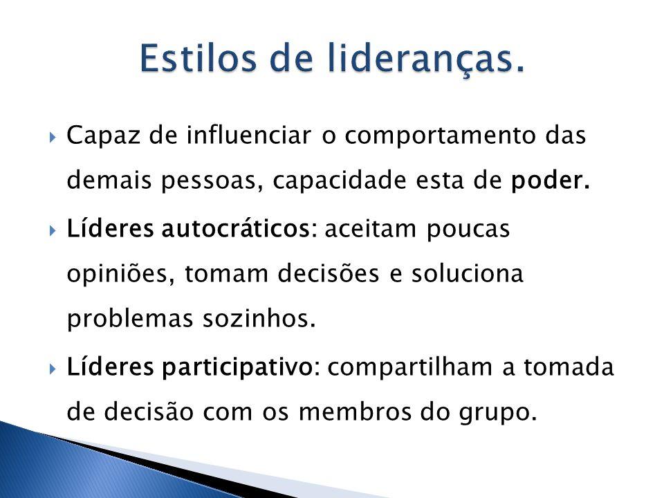 Estilos de lideranças. Capaz de influenciar o comportamento das demais pessoas, capacidade esta de poder.