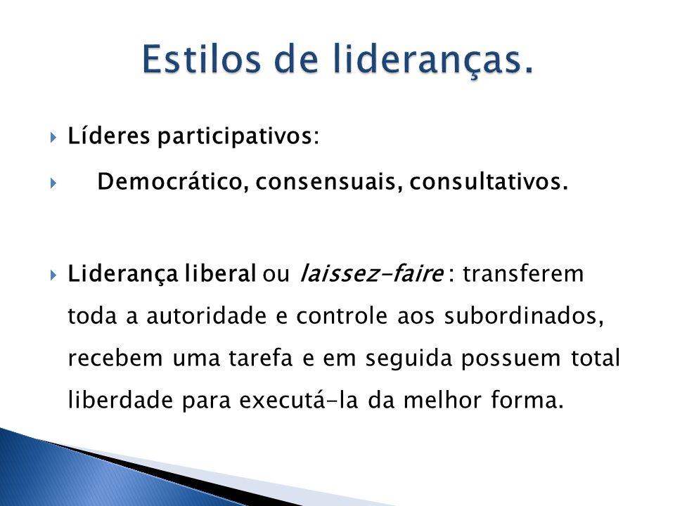 Estilos de lideranças. Líderes participativos: