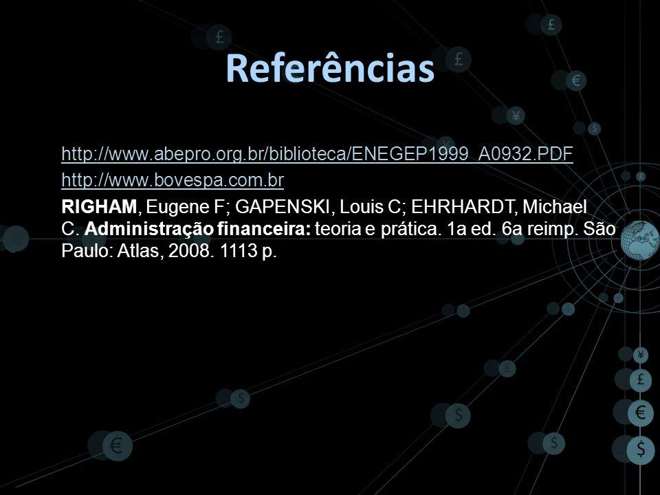 Referências http://www.abepro.org.br/biblioteca/ENEGEP1999_A0932.PDF