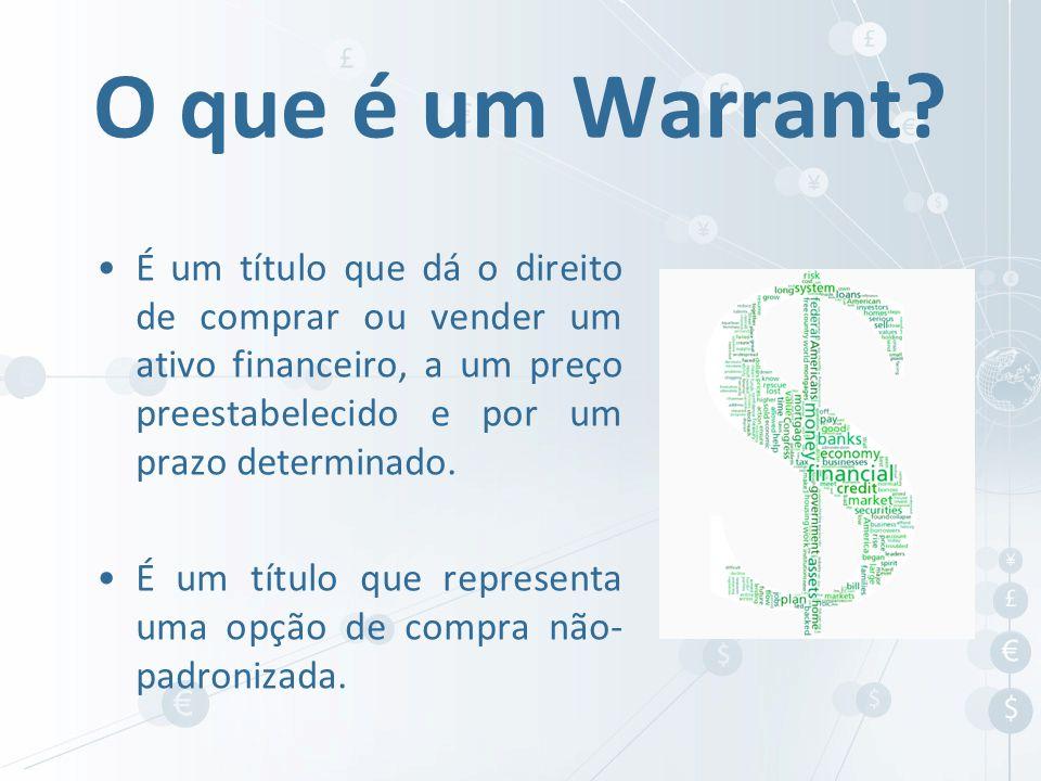 O que é um Warrant É um título que dá o direito de comprar ou vender um ativo financeiro, a um preço preestabelecido e por um prazo determinado.