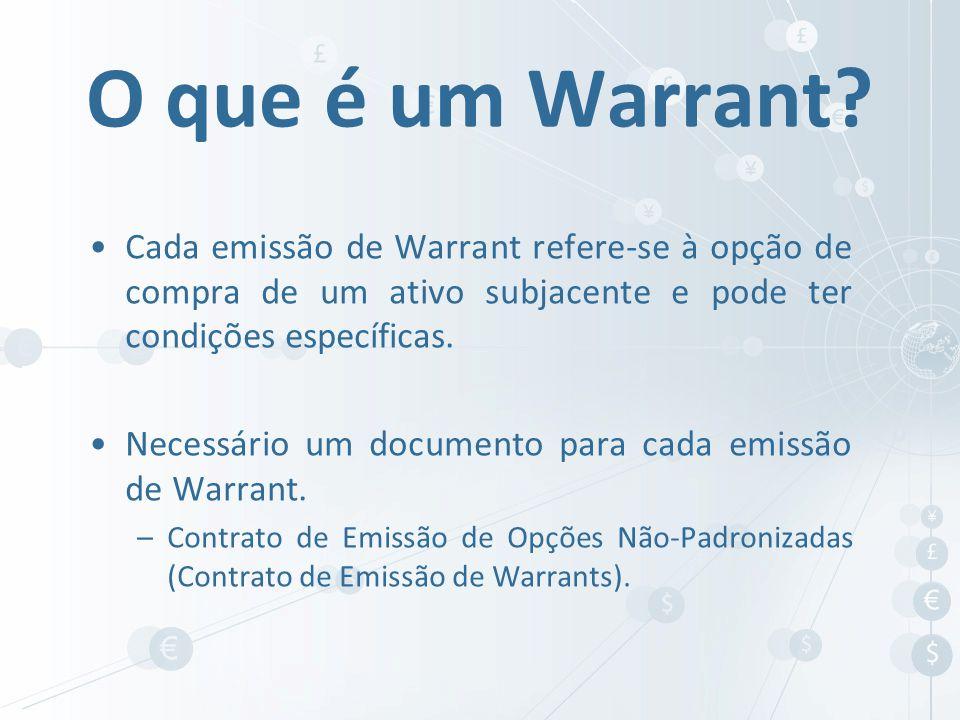 O que é um Warrant Cada emissão de Warrant refere-se à opção de compra de um ativo subjacente e pode ter condições específicas.