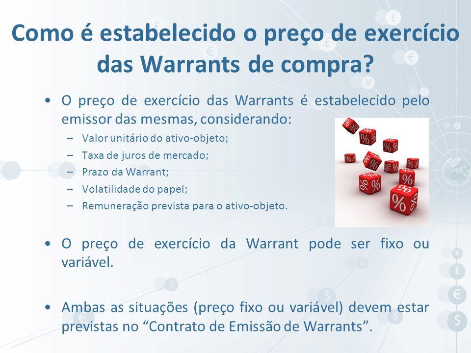 Como é estabelecido o preço de exercício das Warrants de compra