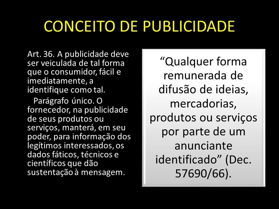CONCEITO DE PUBLICIDADE
