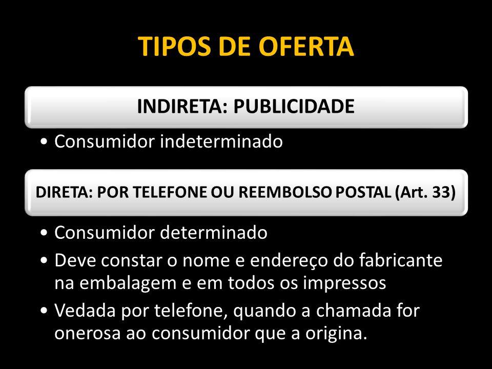 TIPOS DE OFERTA INDIRETA: PUBLICIDADE Consumidor indeterminado
