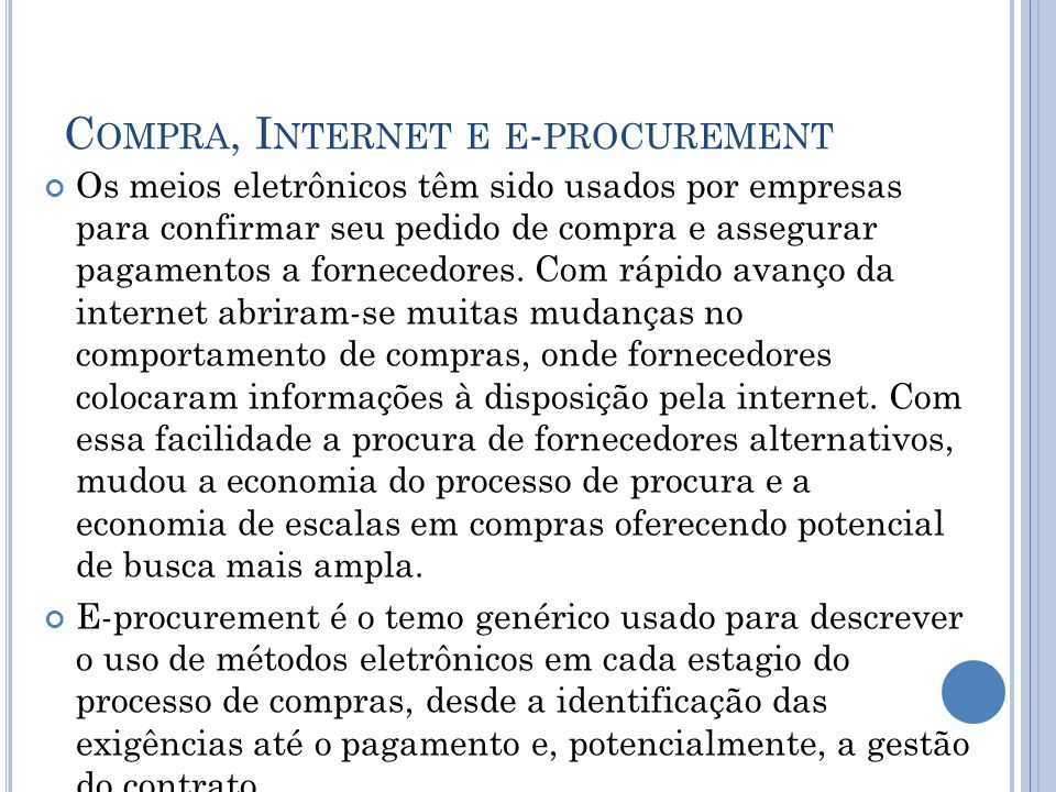 Compra, Internet e e-procurement