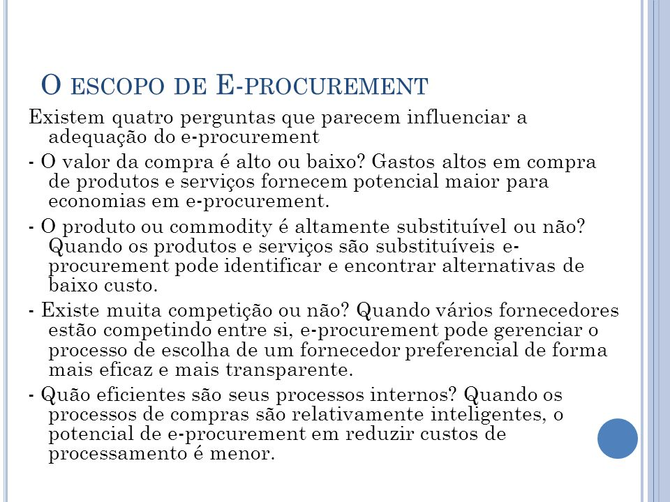 O escopo de E-procurement