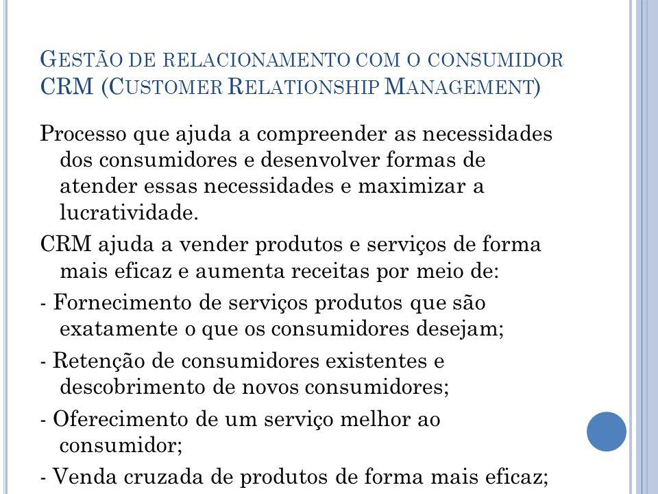 Gestão de relacionamento com o consumidor CRM (Customer Relationship Management)