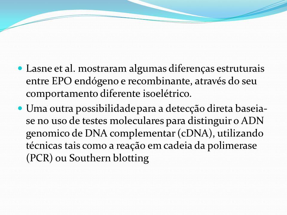 Lasne et al. mostraram algumas diferenças estruturais entre EPO endógeno e recombinante, através do seu comportamento diferente isoelétrico.