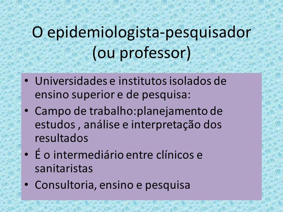 O epidemiologista-pesquisador (ou professor)
