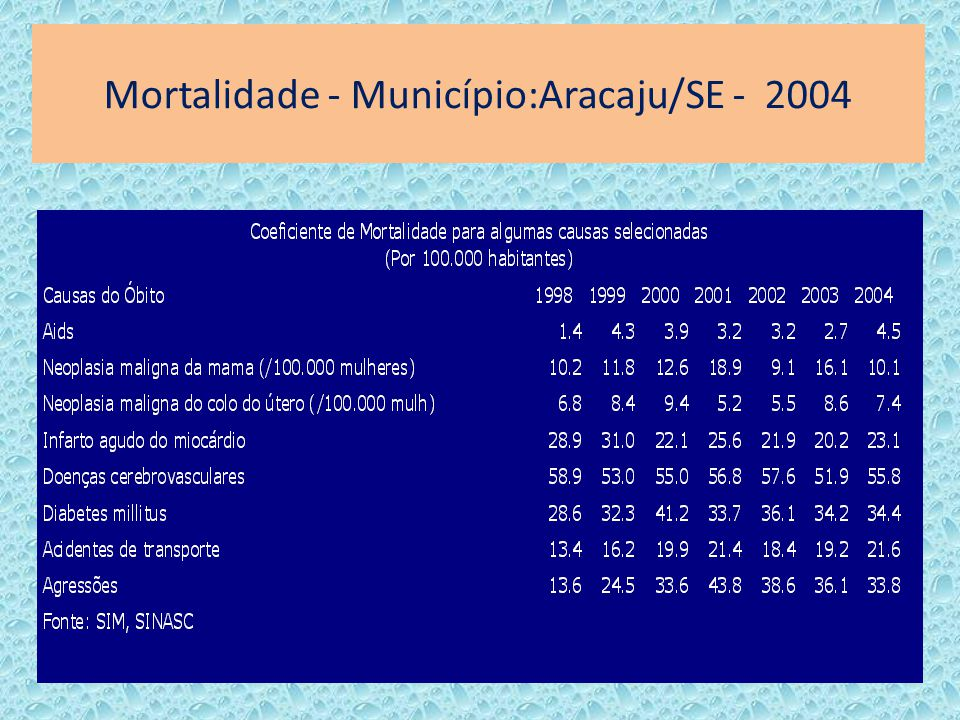 Mortalidade - Município:Aracaju/SE - 2004