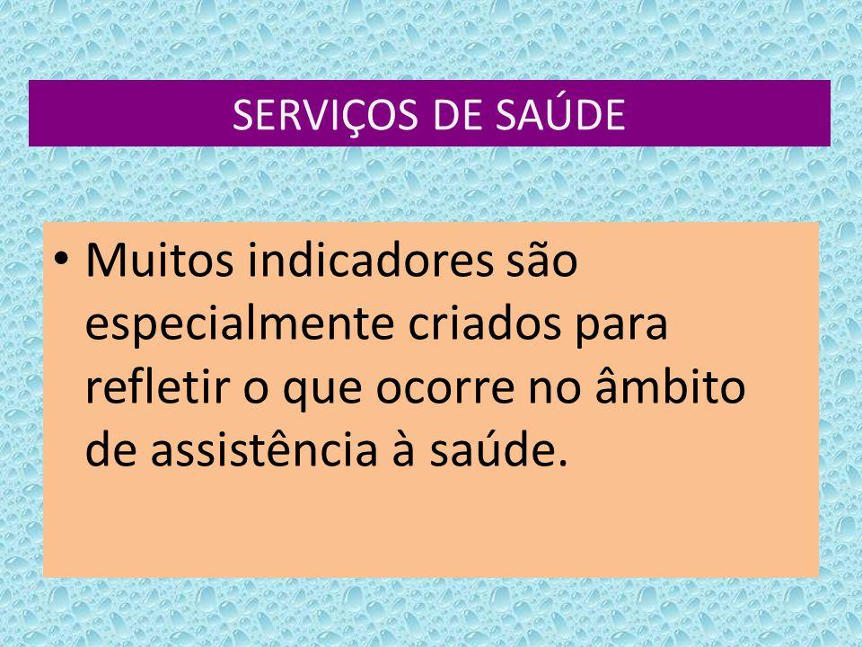 SERVIÇOS DE SAÚDE Muitos indicadores são especialmente criados para refletir o que ocorre no âmbito de assistência à saúde.