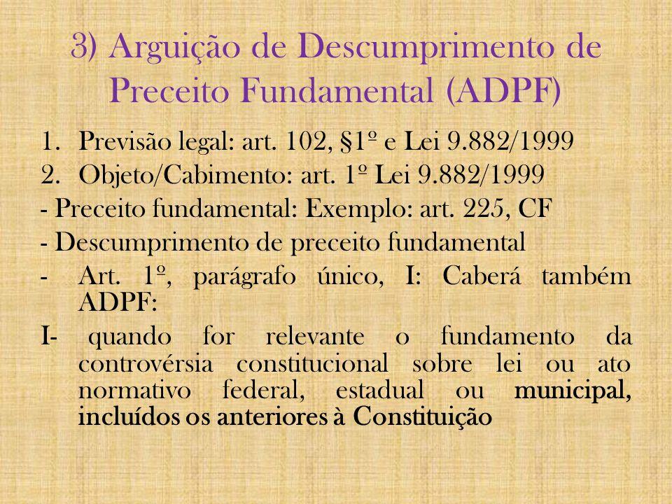 3) Arguição de Descumprimento de Preceito Fundamental (ADPF)
