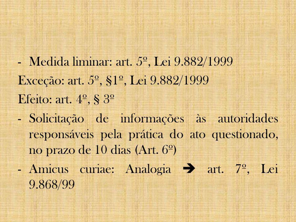 Medida liminar: art. 5º, Lei 9.882/1999