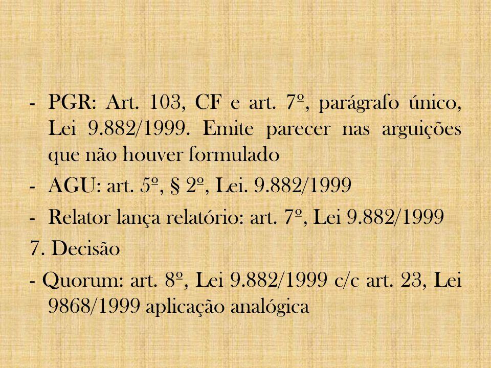 PGR: Art. 103, CF e art. 7º, parágrafo único, Lei 9. 882/1999
