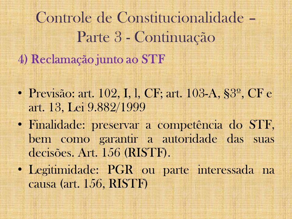 Controle de Constitucionalidade – Parte 3 - Continuação