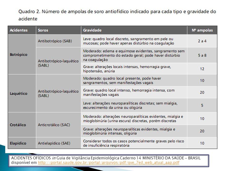 ACIDENTES OFÍDICOS in Guia de Vigilância Epidemiológica Caderno 14 MINISTÉRIO DA SAÚDE – BRASIL disponível em http://portal.saude.gov.br/portal/arquivos/pdf/gve_7ed_web_atual_aap.pdf