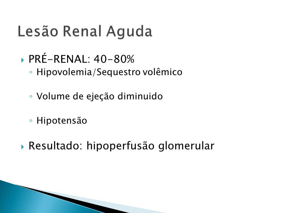 Lesão Renal Aguda PRÉ-RENAL: 40-80% Resultado: hipoperfusão glomerular