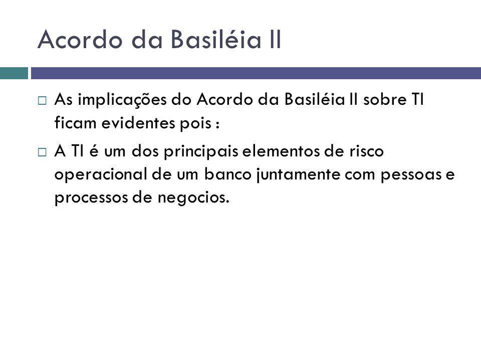 Acordo da Basiléia II As implicações do Acordo da Basiléia II sobre TI ficam evidentes pois :
