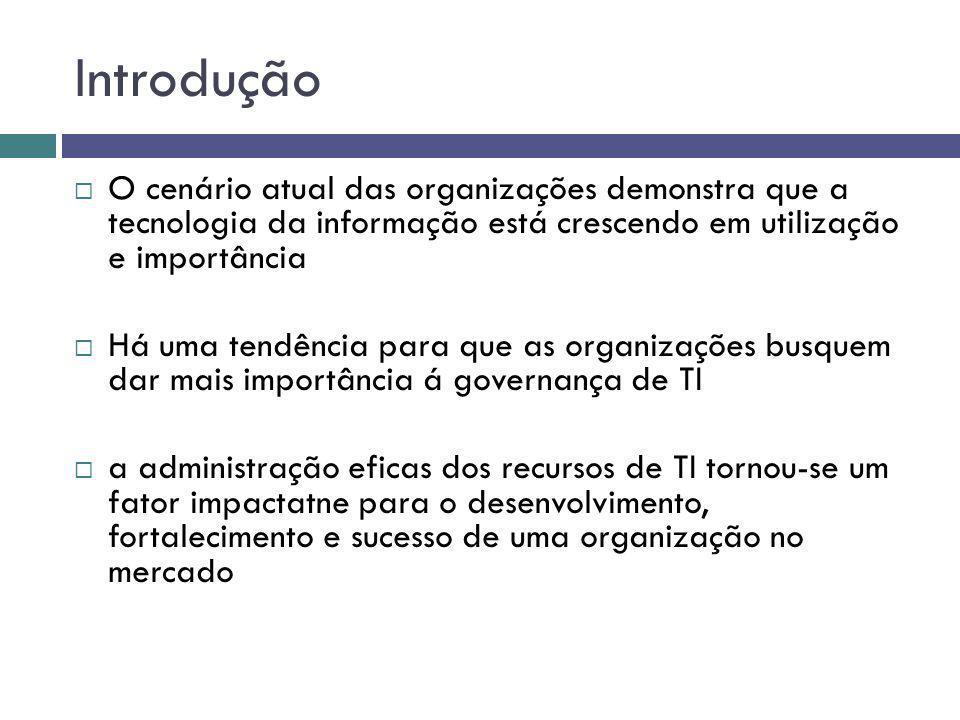 Introdução O cenário atual das organizações demonstra que a tecnologia da informação está crescendo em utilização e importância.