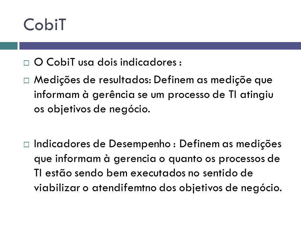CobiT O CobiT usa dois indicadores :