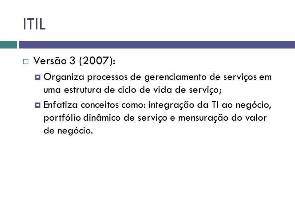 ITIL Versão 3 (2007): Organiza processos de gerenciamento de serviços em uma estrutura de ciclo de vida de serviço;
