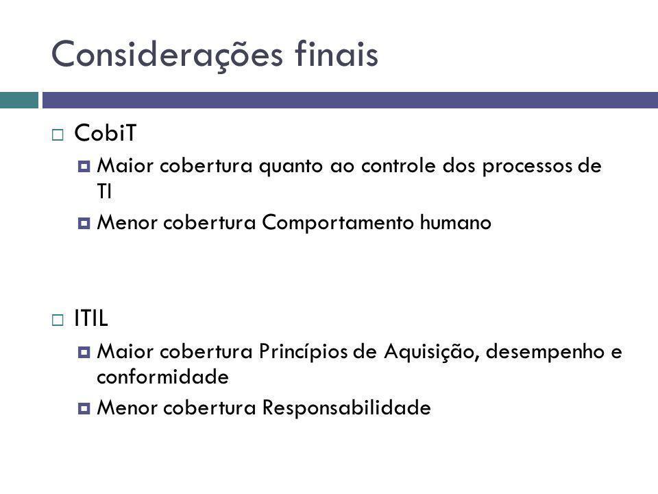 Considerações finais CobiT ITIL