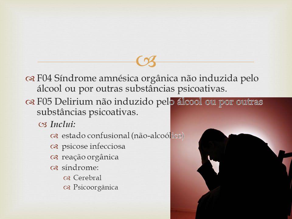 F04 Síndrome amnésica orgânica não induzida pelo álcool ou por outras substâncias psicoativas.
